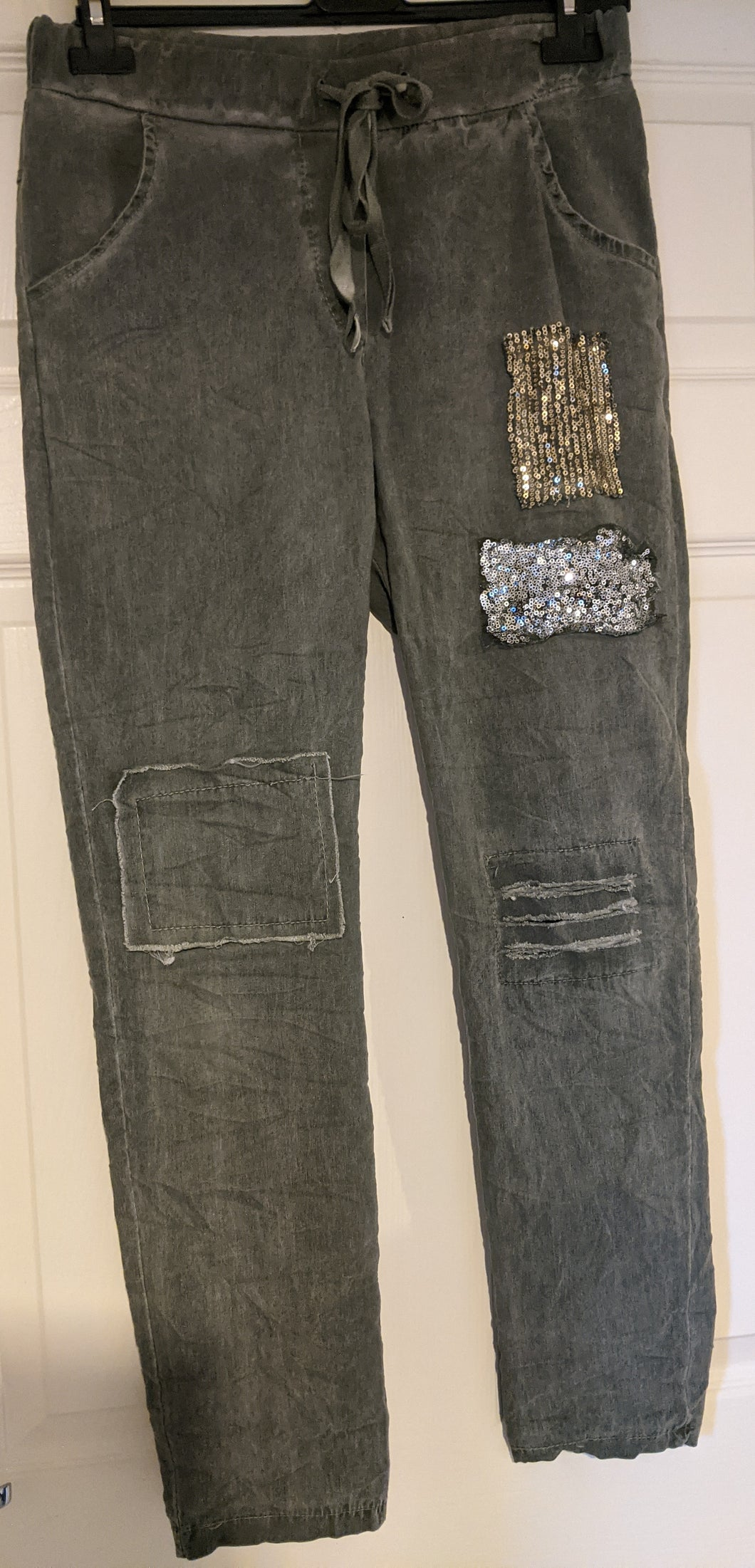 Stretch 'Magic' Trousers - Patches and Shredded Sequin Detail