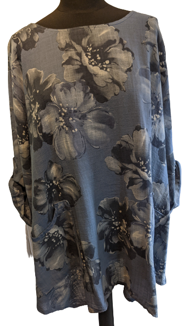 Lightweight Cotton Top with Floral Pattern and Roll Up Sleeve