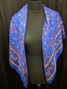 Large Silk Square Scarf  Paisley Border with Flowers and Leaves Print