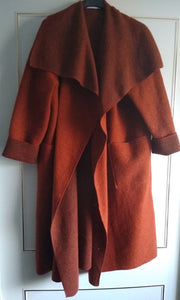 Long Boiled Wool Mix Coat with Waterfall Open Front