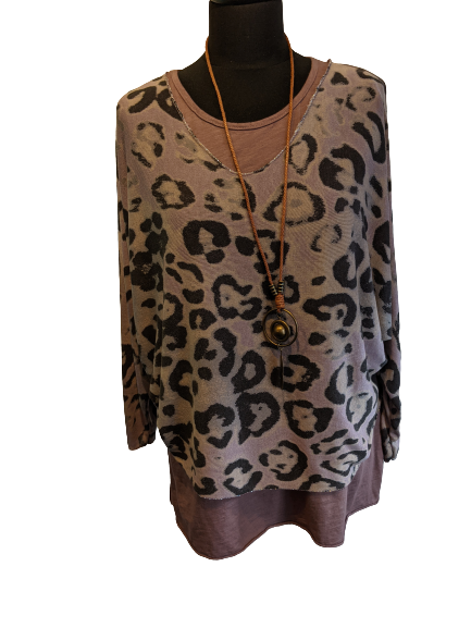 2 Piece Top Set with Animal Print - Lightweight with Necklace