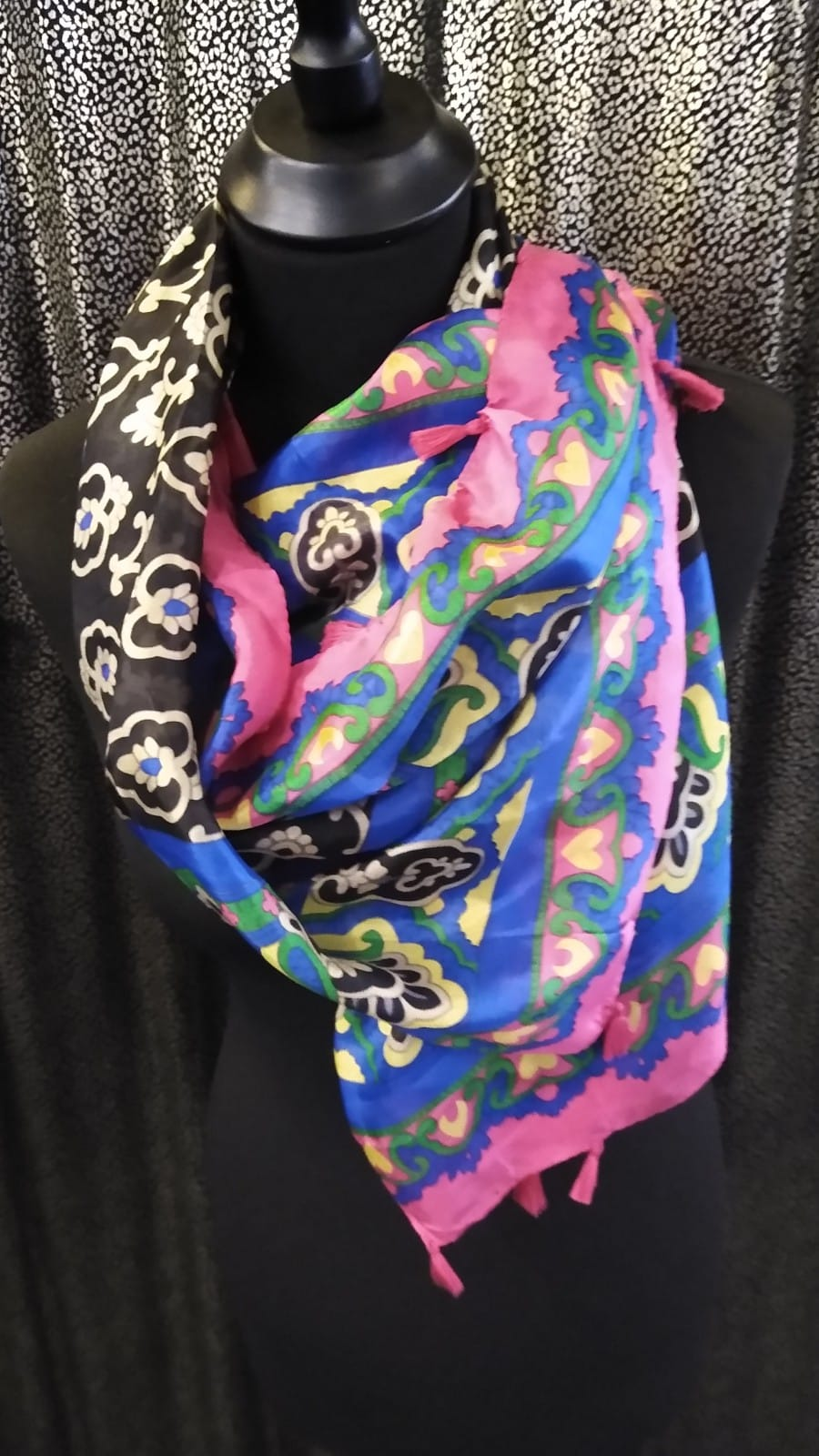 Large Square Silk Scarf with Scallop/Hearts Pattern and Tassels Trim