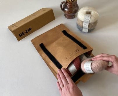 Sustainable yarn delivered in sustainable Re-zip packaging