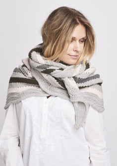 Alberte knitted shawl with stripes in grey and rose, made in Önling No 2 merino wool