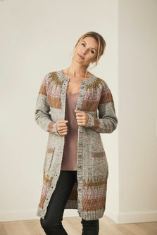 Alva icelandic long cardigan, grey with pattern in rose and curry, made in Isager Jensen yarn and Highland wool, the front