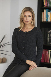 Annabelle knitted cardigan, black with fine details and buttons, made in Isager Jensen Yarn and Silk Mohair, the front