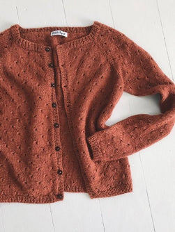 Anna's cardigan - my size, designed by PetiteKnit, rust red knitted cardigan