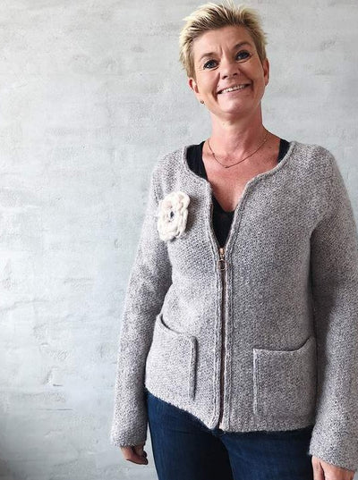 Aura cardigan or jacket, knit in Isager Jensen and Silk Mohair - Önling Nordic knitting patterns and yarn