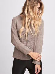 Clara elegant, beige knitted cardigan with beautiful fan pattern, made in Önling no 1 merino wool