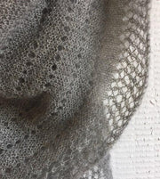 Cloud super light knitted shawl with lace pattern, made in grey Silk Mohair, detail picture of lace pattern