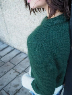 Contrast sweater by PetiteKnit, knitted dark green and light grey sweater, shoulder
