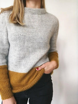 Contrast sweater by PetiteKnit, knitted light grey and yellow sweater, shown on model