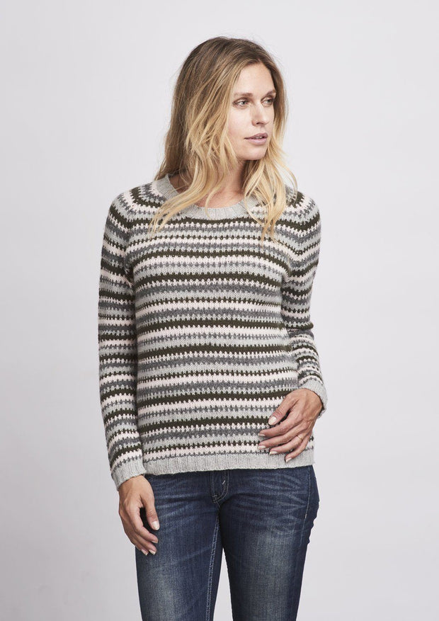 Cornelia colorful sweater with a cool graphic pattern in pink, light grey, dark grey and army green, made in Önling No 2 merino wool