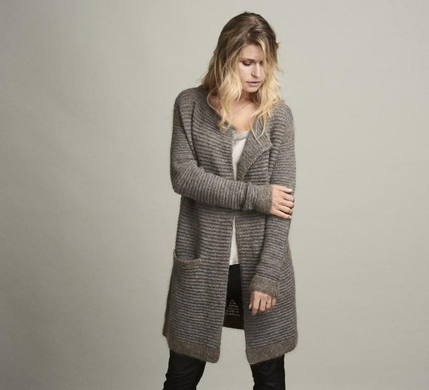 Dakkar long, open and cozy knitted cardigan with narrow grey and brown stripes, made in Isager Alpaca, Highland wool and silk mohair, the front