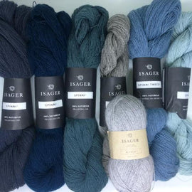 Yarn kit for Dia shawl in blue and grey colors, Isager Spinni and Alpaca yarn