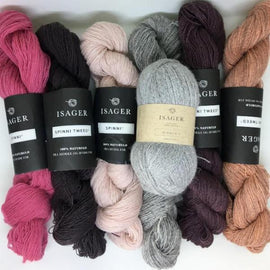 Yarn kit for Dia shawl in pink and purple colors, Isager Spinni and Alpaca yarn
