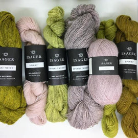 Yarn kit for Dia shawl in yellow and rose colors, Isager Spinni and Alpaca yarn