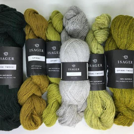 Yarn kit for Dia shawl in yelllow green colors, Isager Spinni and Alpaca yarn
