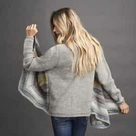Dione knitted cardigan with drapes at the front, grey with stripes in dusty, blue, yellow and purple colors, made in Isager Alpaca and Spinni wool, the back