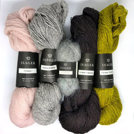 Yarn kit for Draka icelandic sweater in original grey, rose and curry colors, Isager Jensen, Tvinni and Silk mohair yarn