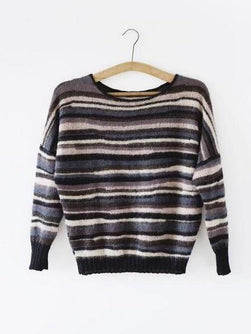 Himalaya knitted sweater designed by Helga Isager, knitted in Isager Spinni and Silk Mohair