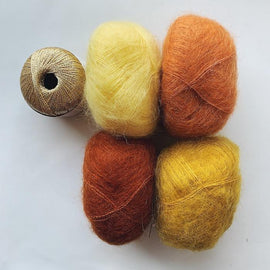 Strikkekit til Shiruku Kimono, i silk mohair og shiny Krea Deluxe, orange