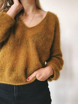 Kumulus sweater, curry yellow knitted sweater in silk mohair yarn designed by Petiteknit