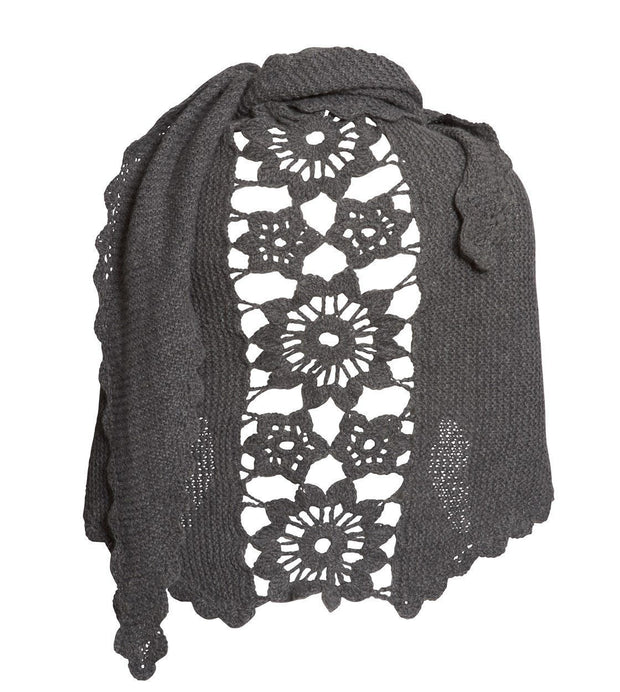 Lenes shawl, a knitted shawl with a flower panel at the back, made in dark grey Isager Highland wool and Silk Mohair