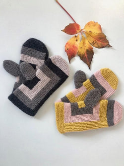 Knitting pattern for Log Cabin mittens (Advent 2018).