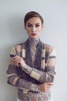 Model wearing Manchuria knitted jacket designed by Helga Isager, knitted in Isager Spinni and Silk Mohair yarn