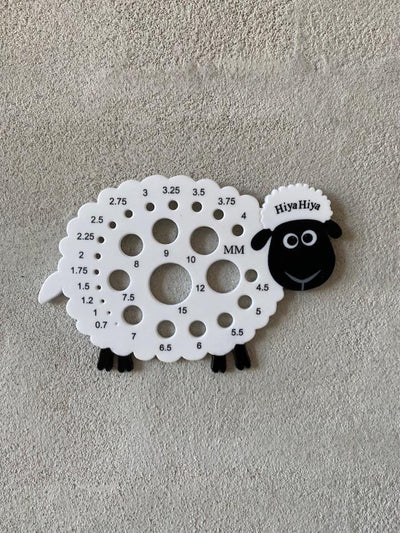 Measure your knitting needles with this measuring sheep from Hiya Hiya