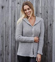Becky grey knitted cardigan or jacket with beautiful cable edges and collar, made in Isager Alpaca and Highland wool, the front