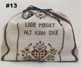 Knitting project bag with embroidery, no 13