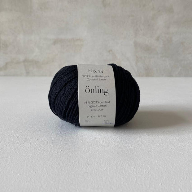 Önling No 14, GOTS-certified organic cotton/linen yarn, black