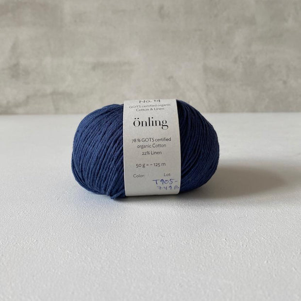 Önling No 14, GOTS-certified organic cotton/linen yarn, dark blue