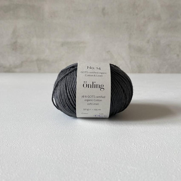 Önling No 14, GOTS-certified organic cotton/linen yarn, dark gray