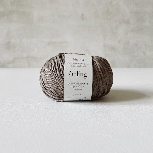 Önling No 14, GOTS-certified organic cotton/linen yarn, dark linen