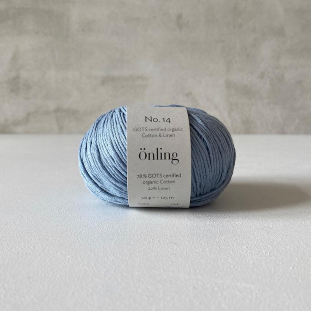 Önling No 14, GOTS-certified organic cotton/linen yarn, light blue