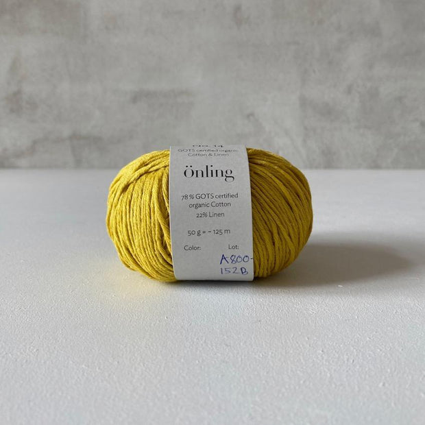 Önling No 14, GOTS-certified organic cotton/linen yarn, mustard yellow