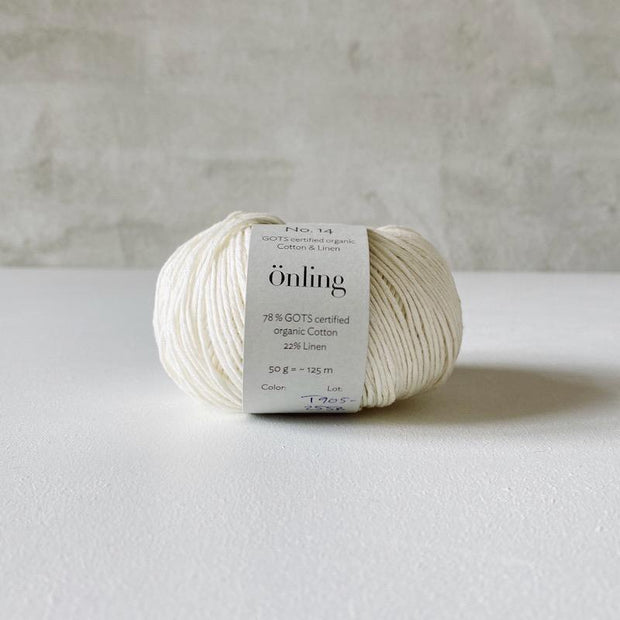 Önling No 14, GOTS-certified organic cotton/linen yarn, off-white