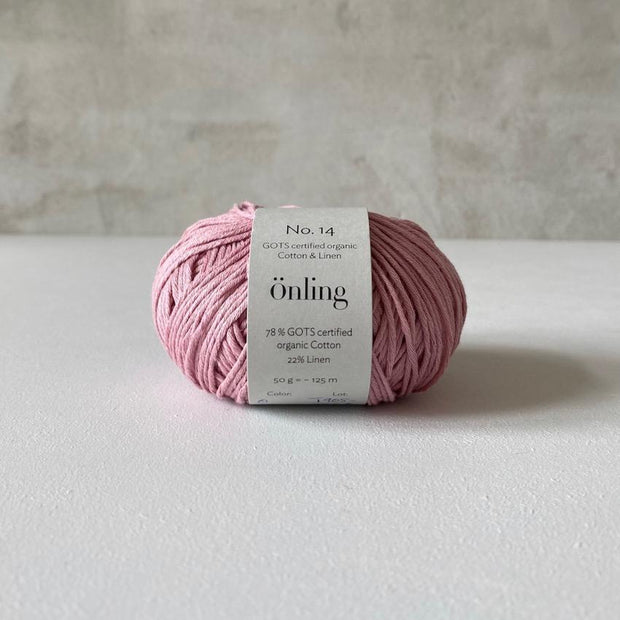 Önling No 14, GOTS-certified organic cotton/linen yarn, rose