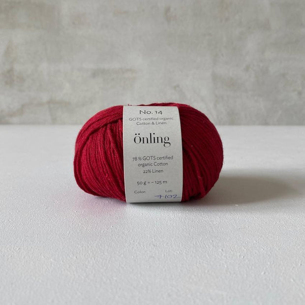 Önling No 14, GOTS-certified organic cotton/linen yarn, wine red