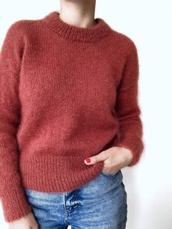 Stockholm sweater, red knitted sweater in silk mohair yarn designed by Petiteknit