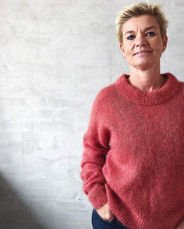 Stockholm sweater by Petiteknit, red silk mohair - Önling Nordic knitting patterns and yarn