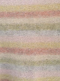 Summer in Denmark, detail picture of the stripes in soft pink, yellow, red, beige, green and light blue