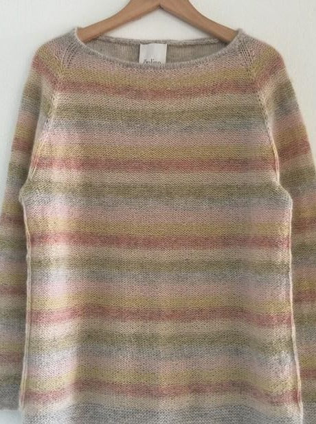 Summer in Denmark - a light, cozy sweater with narrow stripes in soft colors, made in Isager Spinni wool and Silk Mohair