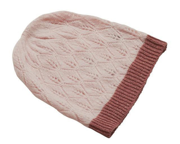 Supersoft hat, delicious light pink wool hat with dark rose glitter band at the edge