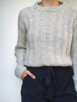 Vertical Stripes, light grey knitted sweater designed by PetiteKnit,