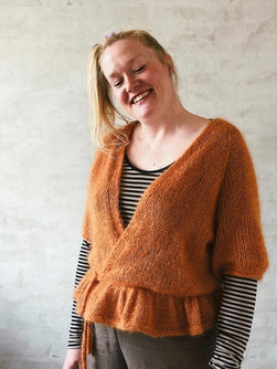 Yarn kit for Wrap Me Up cardigan by Plummum. In Brushed Lace from Mohair by Canard, color caramel