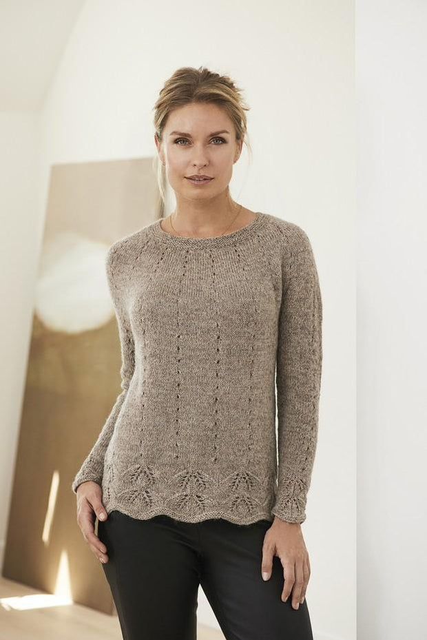 Axis knitted sweater with lace pattern, knitted in beige Isager Highland wool and Alpaca